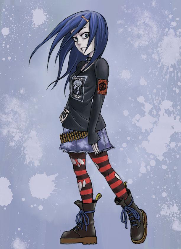 blue hair punk girl